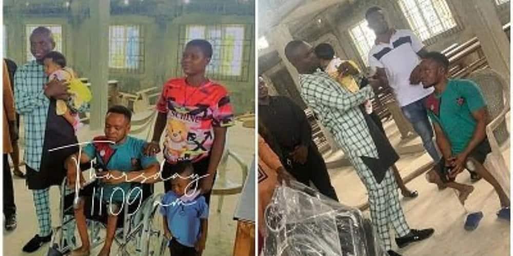Physically-Challenged Man Who Danced Joyfully on His Child's Dedication Gets a Wheelchair from Good Samaritan