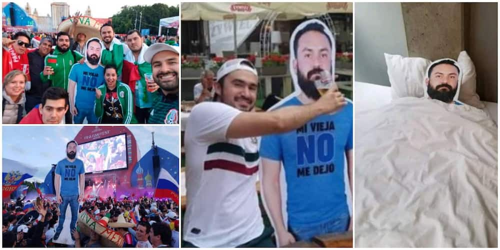 Friends Attend Event with Cardboard Cutout of Man Whose Wife Didn't Allow Him Tag along, Take Photos With it
