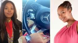 """Yhuu mntase"": Mzansi showers woman with praise as she flexes her flashy Merc"