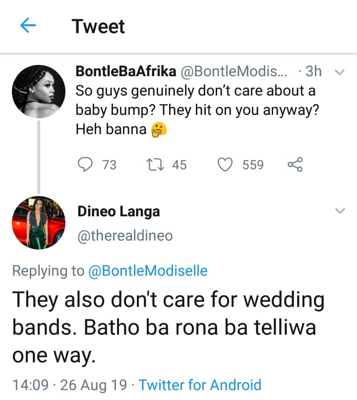 Dineo Moeketsi Langa can't believe men try hit on married women