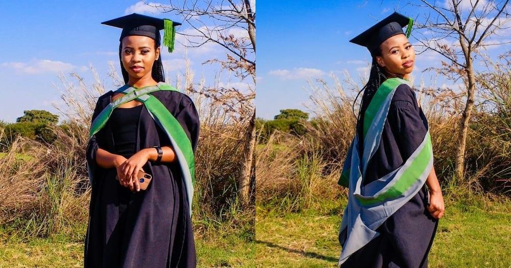 Lady, celebrates graduation, dedicates, mom. Export pls