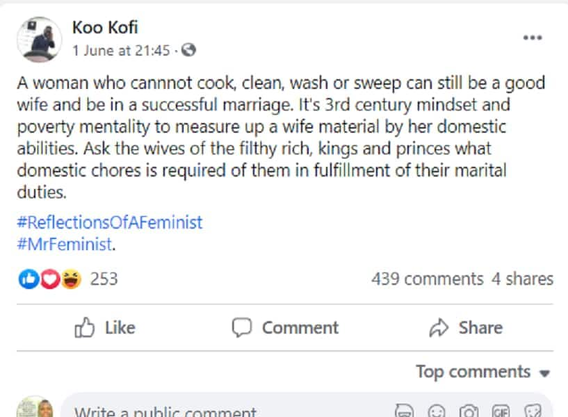 A lady who can't cook, clean & wash can still be a good wife -GH man causes stir