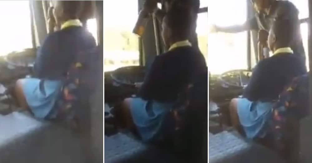 Clip shows school girl driving bus while driver drinks beer, SA reacts