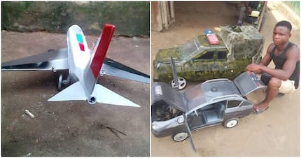 Young man Wisdom Ibeabuchi Eze designs cars, aeroplane using scrap metals