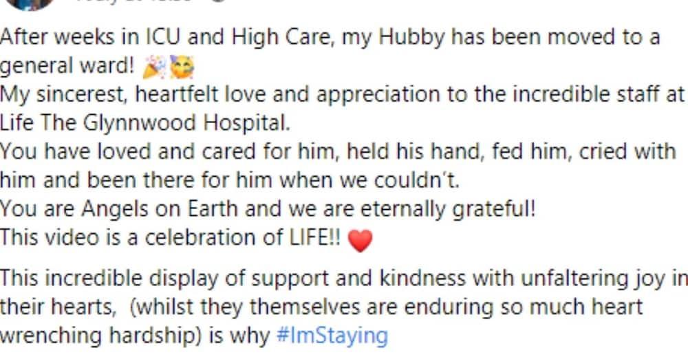 Woman, Praises, Staff, and Husband, ICU