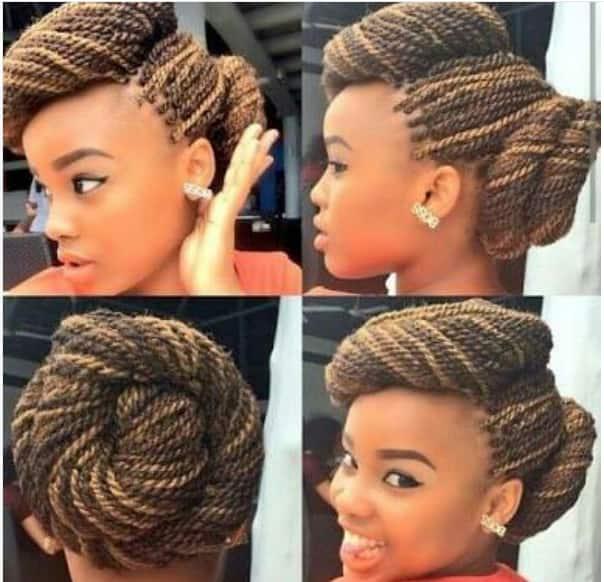 Side bun braids hairstyle