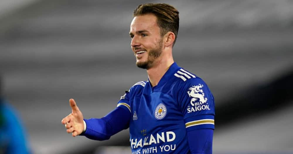James Maddison celebrates after scoring a goal during the Premier League at The King Power Stadium on January 16, 2021. (Photo by Tim Keeton - Pool/Getty Images).