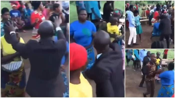 Woman fights pastor during prayer session, stops him from putting hand on her head