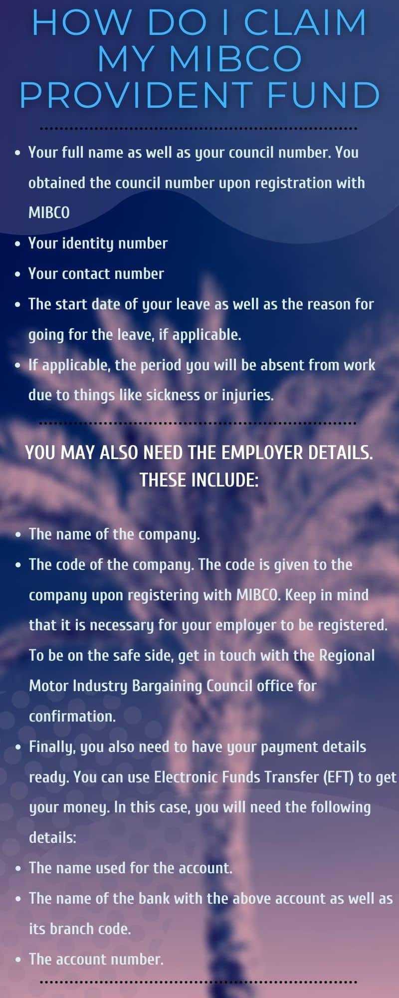 How do I claim my MIBCO provident fund