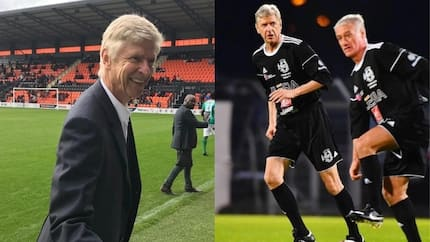 Former Arsenal boss Arsene Wenger takes part in a charity match
