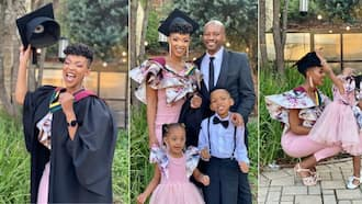Proud husband praises his wife for graduating and shares sweet family pics of the special day, Mzansi swoons