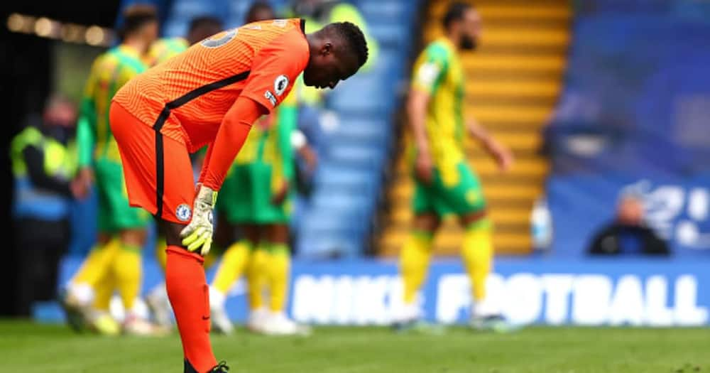 Edouard Mendy of Chelsea looks dejected during the Premier League match between Chelsea and West Bromwich Albion at Stamford Bridge. (Photo by Clive Rose/Getty Images)
