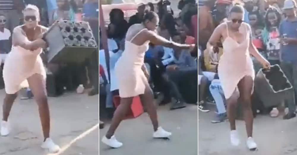 lady, dancing, crate