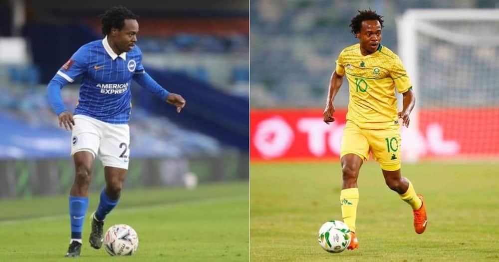 Bafana Bafana striker Percy Tau could leave Brighton & Hove Albion and join a Belgian club. Image: @PercyMuziTau22/Twitter