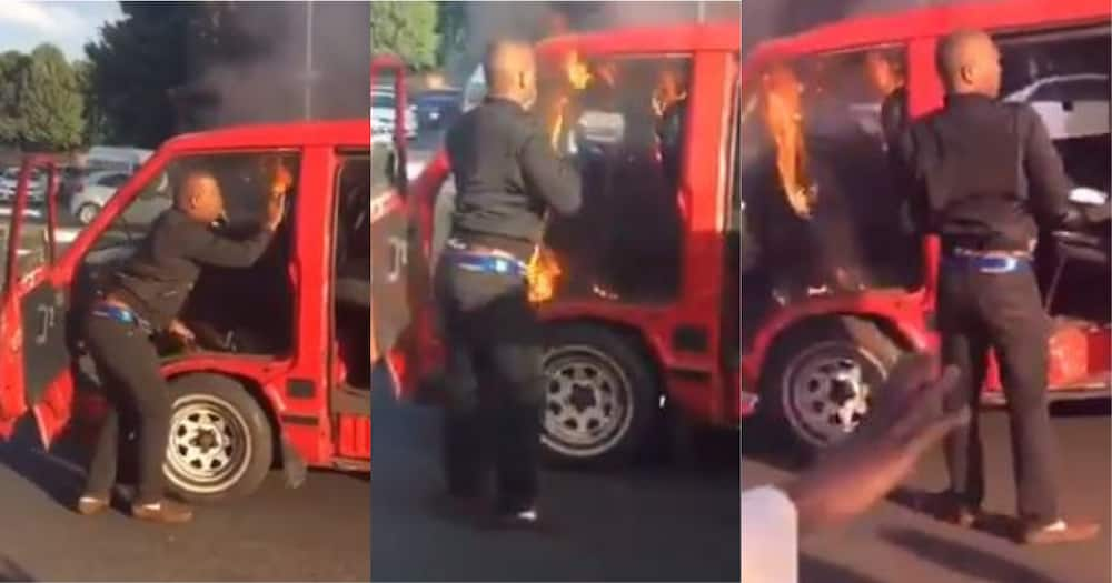 Eish: Mzansi reacts to man attempting to blow out flames in taxi