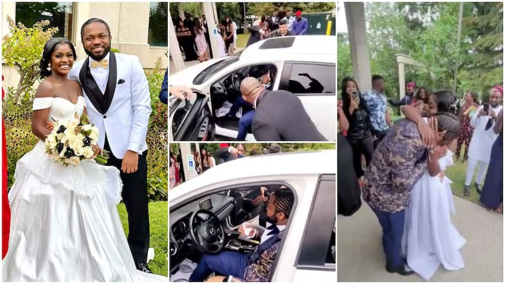 The groom cried when he was given the key.