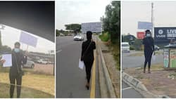 Law graduate hits the street with placard and CV in search of job, photos go viral