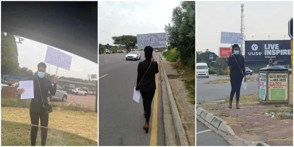 Female Law Graduate Hits the Street with a Placard and Her CV in Search of Job, Photos Spark Mixed Reactions