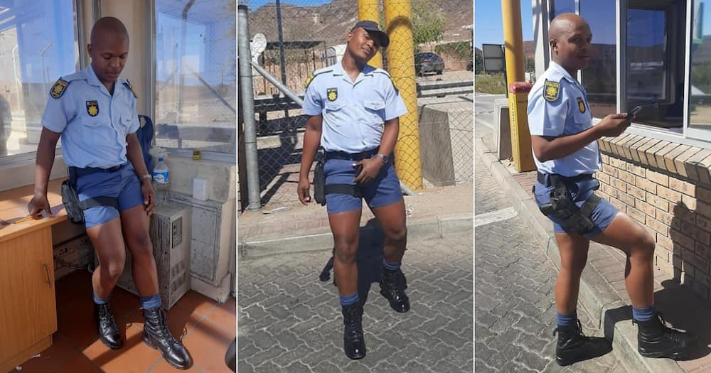 Cop, Shorts, Serving the heat, Social media, Spring, Mzansi, Snaps, Constable, SAPS, Ranks, Tight fitting, Service weapon