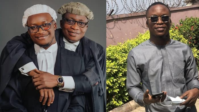 Young man celebrates becoming lawyer with his father who is also a lawyer