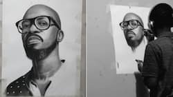 Young artist wows Mzansi with a black & white portrait of DJ Black Coffee