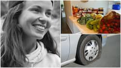 Lady visits man's house after he helped her to fix car's flat tyre, she gives him foodstuff as appreciation