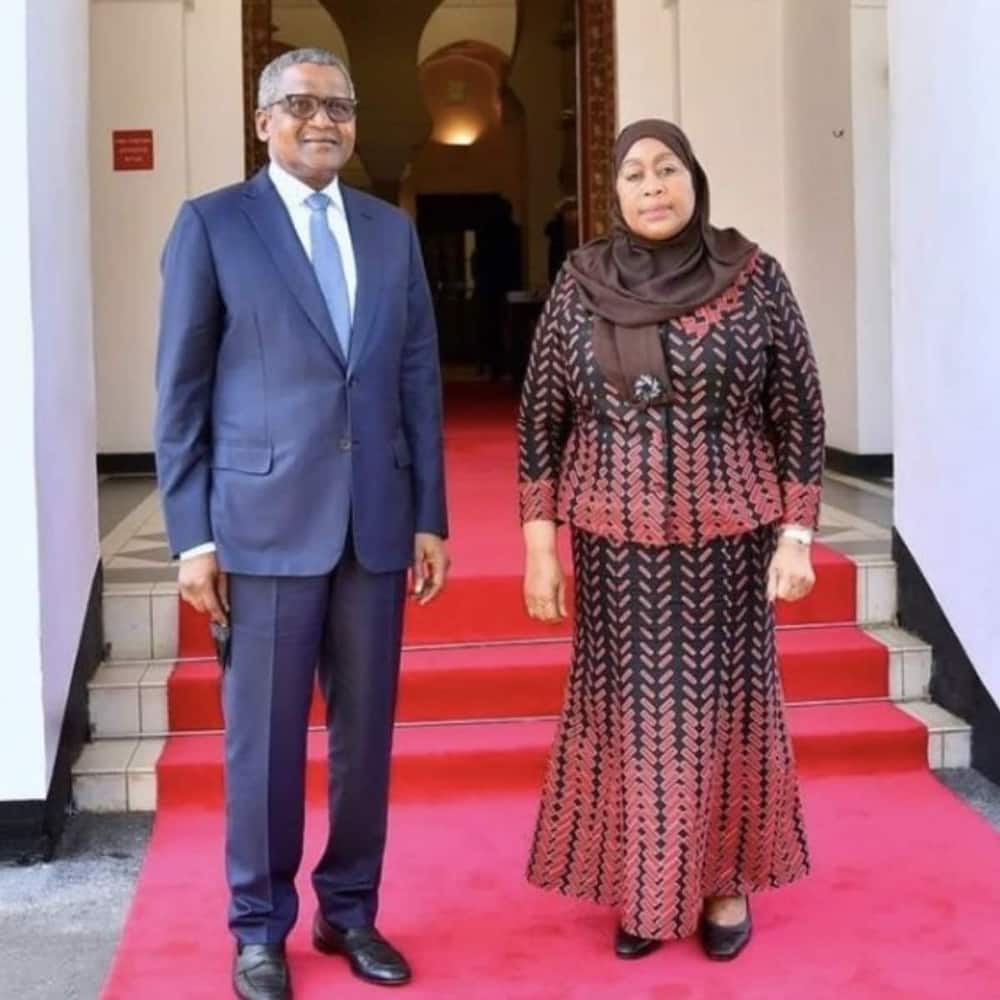 Money meets power: Reactions as African richest man Dangote meets first female president in Tanzania