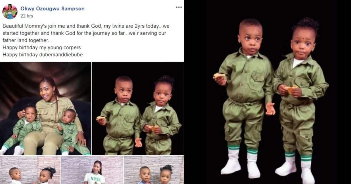 Nigerian corps member celebrates her twin kids who turn 2 during her service year