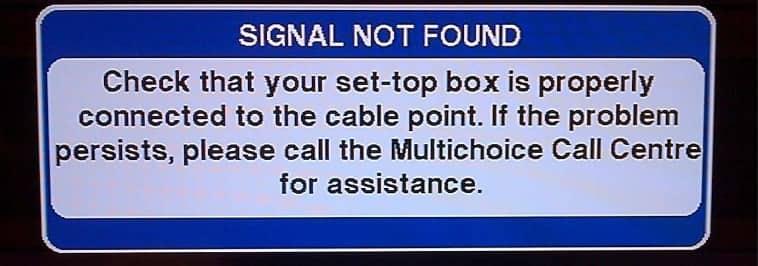 dstv error - no signal due to bad weather