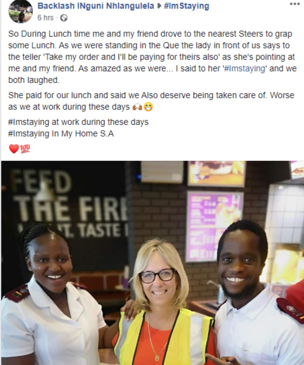 Kind woman pays for nurses' lunch as reward for battling Covid-19