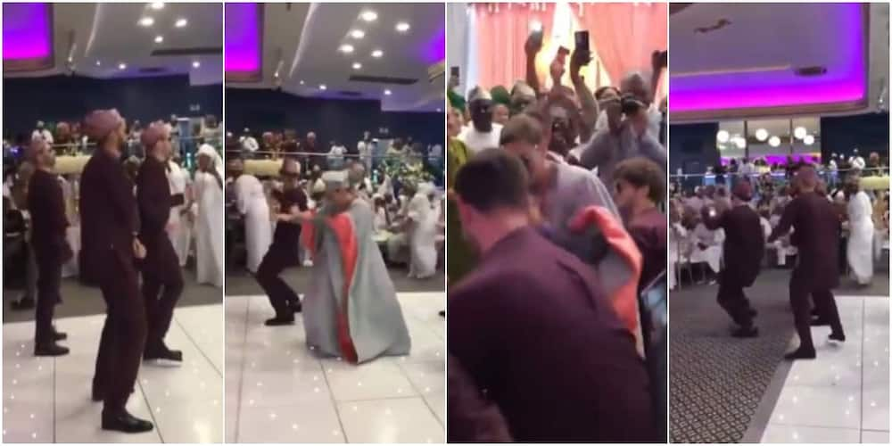 The groom and his groomsmen entertained wedding guests with their dance