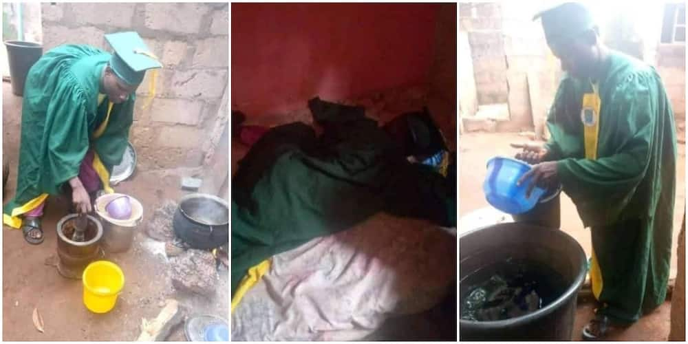 Reactions as student wears matric gown to cook and sleep after the ceremony, says he cannot return it yet as he got it for 5k