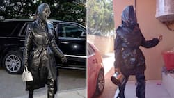 """Woman recreates Kim K outfit from rubbish bags, Mzansi in stitches: """"Only in SA"""""""