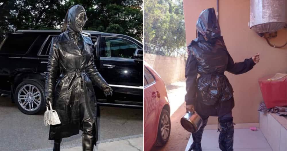 Kim Kardashian, Black leather, Woman, recreates, outfit, rubbish bags, Twitter reactions, hilarious