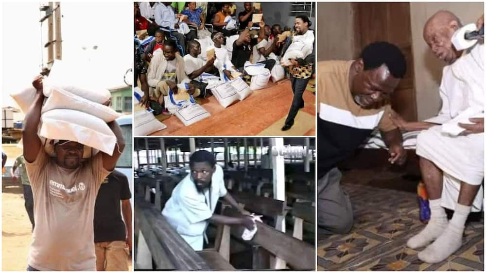 Throwback Photos of TB Joshua Capture Moments He Shared Bags of Food to Poor People, Clean Church Chairs
