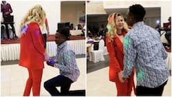 African man proposes to his Russian girlfriend on Valentine's Day