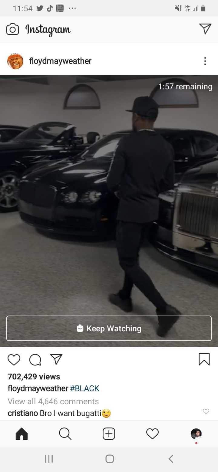 Cristiano Ronaldo jokingly tells Mayweather to give him Bugatti among his cars