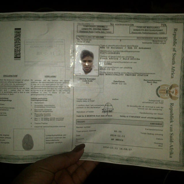 South African temporary drivers licence pictures