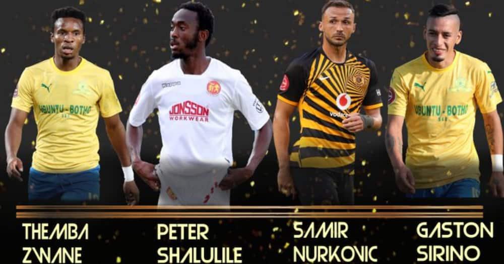 Zwane, Shalulile, Nurkovic, and Sirino are nominated for Footballer of the season