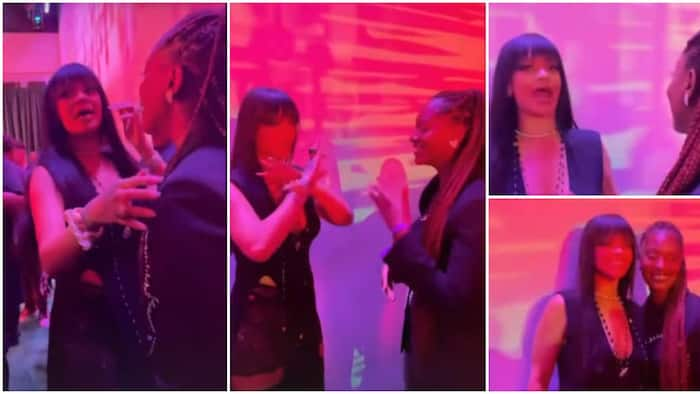 Rihanna screams in excitement, blushes hard as she meets singer Tems for the 1st time