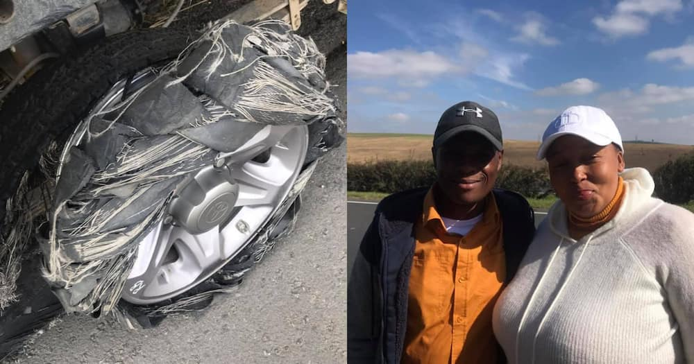 Local ladies tyre completely destroyed, good Samaritans save the day