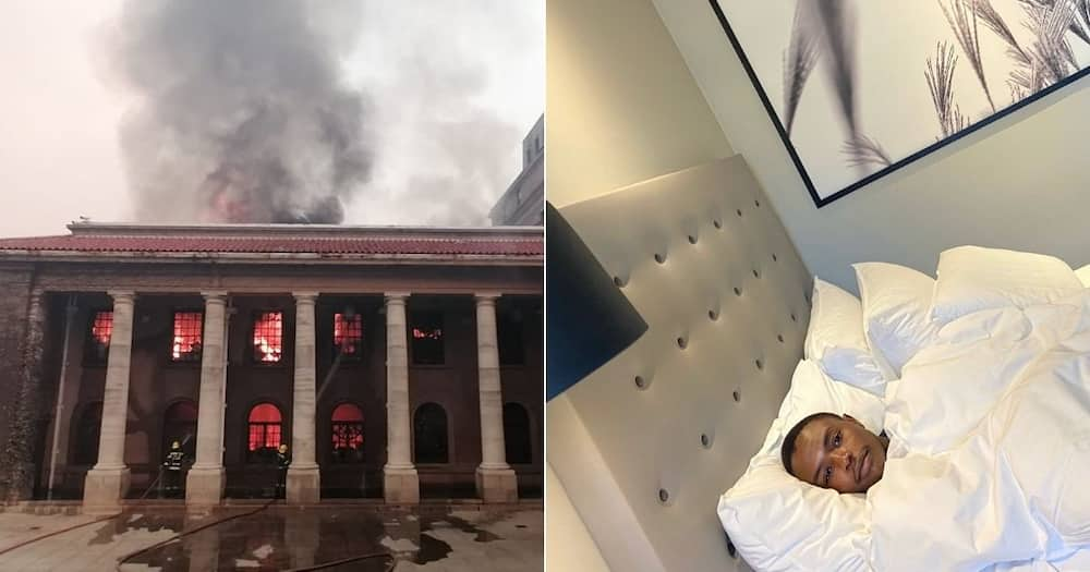 A UCT student has attracted the attention of social media users for sharing two of his pictures. Image: Twitter