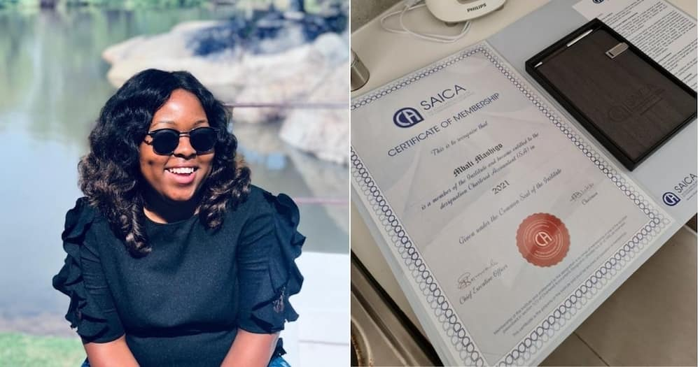 Chartered Accountant Mbali Mashigo has just inspired her social media users. Image: Facebook/Twitter