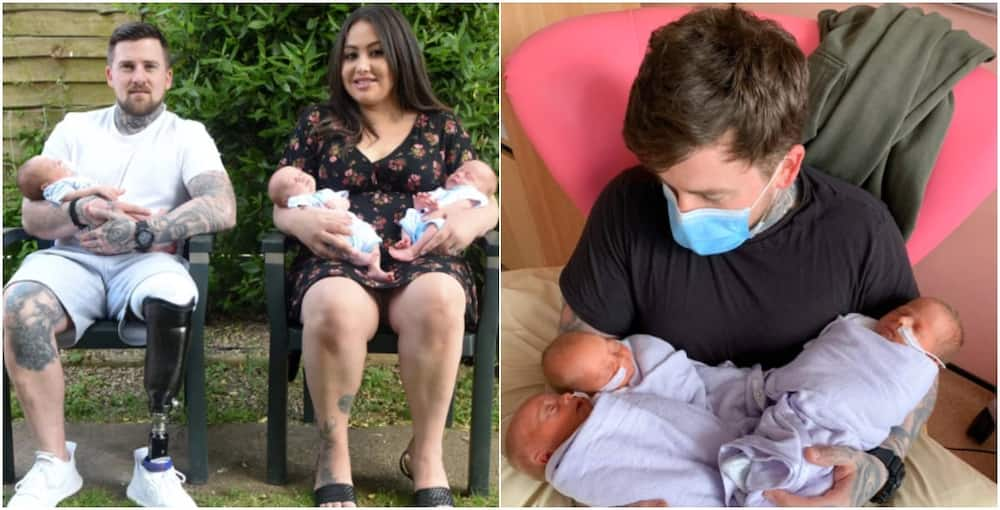 VETERAN'S JOY Soldier who lost his leg after stepping on an explosive in Afghanistan welcomes triplets