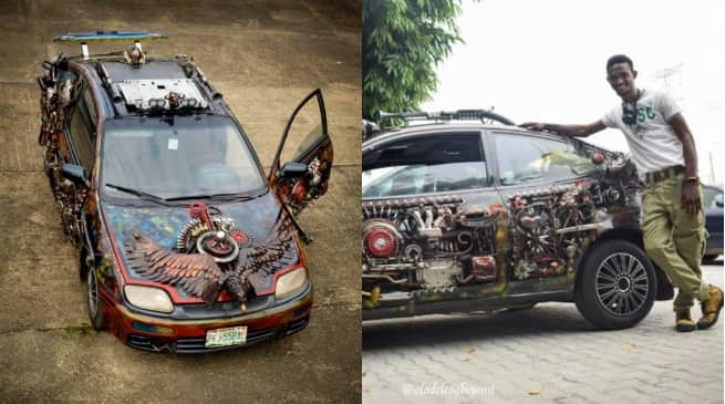 Nigerian corps member redesigns Mazda car into a beautiful brand using wastes