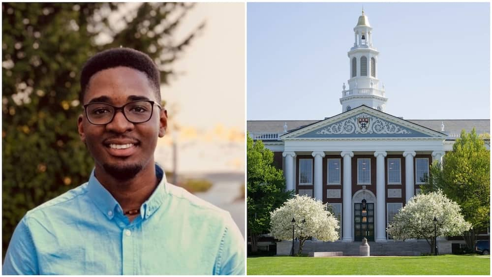 A collage of Arinze and the Harvard Business School building. Photos sources: Sound Cloud/Arinze/Harvard Crimson
