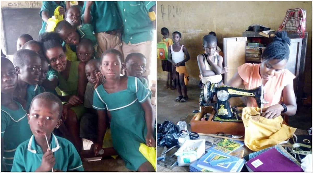 Young teacher spends school break time sewing torn uniforms of pupils