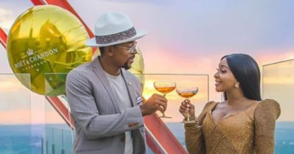 Boity and Maps set new couple goals for Mzansi on World Champagne Day. Photo credit: Instagram/boity