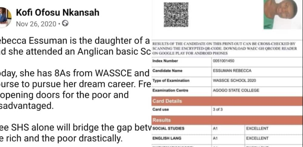 Rebecca Essuman: Agogo State Graduate who obtained 8As in WASSCE has been awarded Scholarship to Study Nursing