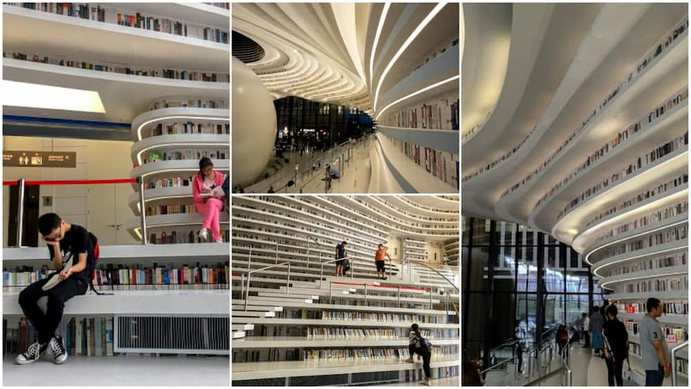 Photos and video shows Chineses big library with 1.2 million books and tall book shelves